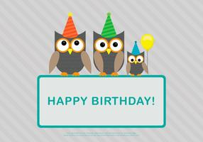 Owl Family Birthday Card Template Vector