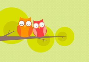 Söt Owl Par Falling In Love Vector