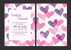 Vector Wedding Invitation with Watercolor Hearts