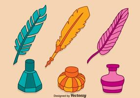 Hand Drawn Colorful Inkwell Vectors