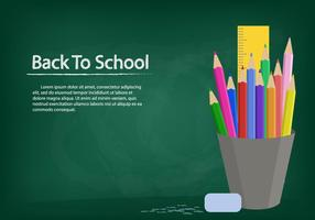 Template Background With Chalk Board And Stationary vector