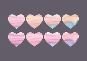 Vector Collection of Watercolor Hearts