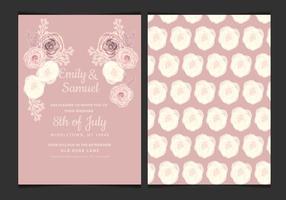 Invitación de la boda del vector con las rosas delicados