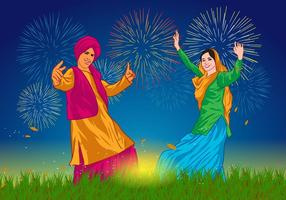 Bhangra Dancers at Night Vector