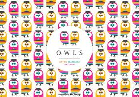 Retro Owls Seamless Vector Pattern