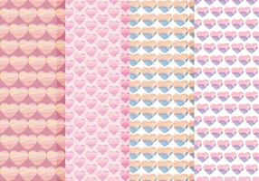 Vector Seamless Patterns Set of Watercolor Hearts
