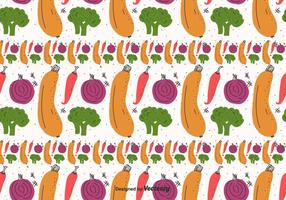 Flat Vegetables Pattern Vector