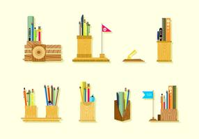 Wooden Pen Holder Free Vector