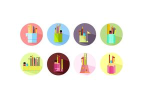 Flat Icon Pen Holder Free Vector