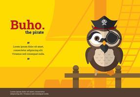 Vector Character Buho pirata