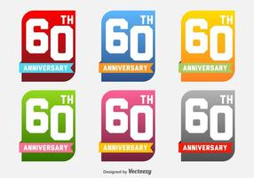 60e anniversaire vectorielle Labels