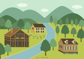 Background Mountain Village Vector