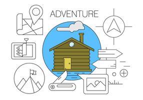 De Aventura / Senderismo / camping Iconos del vector