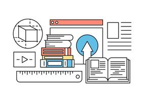 Online Education and Learning Icons in Vector