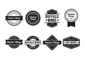 Buffalo and Chicken Wings Badge Vector