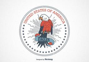 Retro USA Eagle Seal Vector