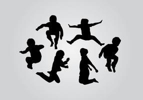 Jump Kids Silhouette Vektoren