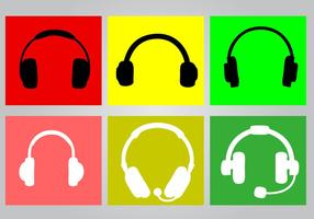 Brillante de auriculares Icon Set