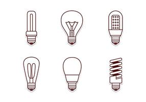 Electricité Lamp Icon Set