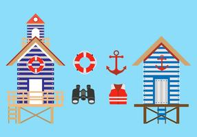 Wohnung Rettungsschwimmer stehen Vektoren