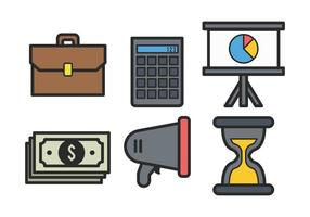 Business bold outline icon set