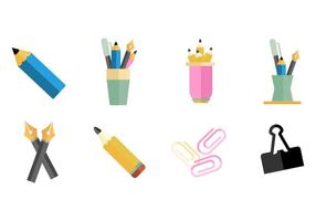Pen Holder and Office Supplies Icons Vector