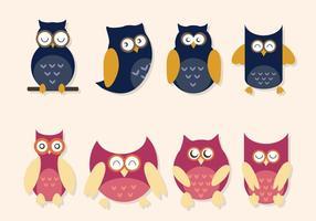 Plana Owl Vektorer