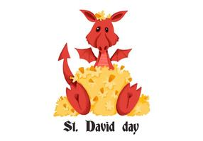 Cute Red Dragon Saint David's Day vector
