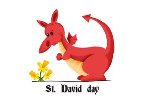 Cute Red Dragon Saint David's Day With Yellow Flower vector