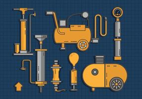 Air Pump Tools Set Vector Flat