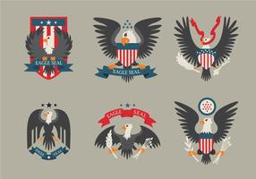 Färgade Eagle Seal Logo Patch Vector