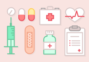 Line Art Medical Elements Vector