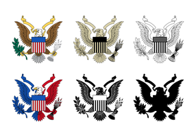 Six Style Of Seal Eagle Vector