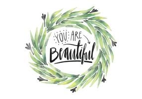 Cute Watercolor Leaves And Lettering Quote