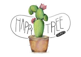Cute Very Colorful Cactus Illustration With Flower Watercolor Happy Tree Day