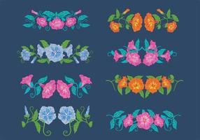 Vintage Petunia Flowers, Horizontal Bouquet vector