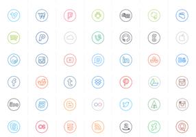 Neon lijn sociale cirkelvectoren