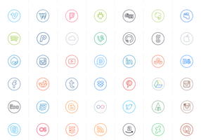 Neon Line Social Circle Vektoren