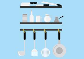 Cocina de acero inoxidable de herramientas Vectores