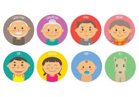Los miembros de la Familia de vectores iconos