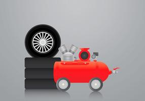 Realistic Air Pump and Tire Vector Illustration