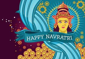 Tarjeta de felicitación hermosa con Durga para Navratri vectorial