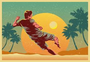 Vector la playa del jugador de fútbol