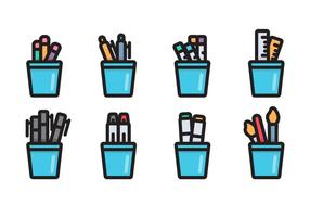 Pen Holder Linear Vector Icon
