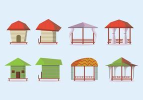 Direkt am Strand Cabana-Vektor-Icons