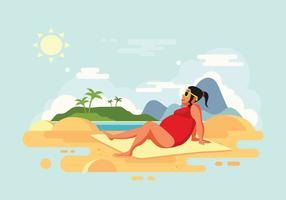 Sunbathing Woman on Beach Vector Illustration