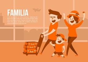 Family at the Airport Vector Background