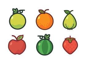 Fruit Fridge Magnet Vector Set