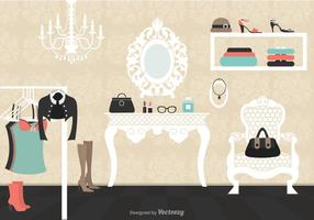 Vintage Dressing Room Vector Illustration