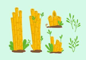 Yellow bamboo lanscape cartoon illustration vector